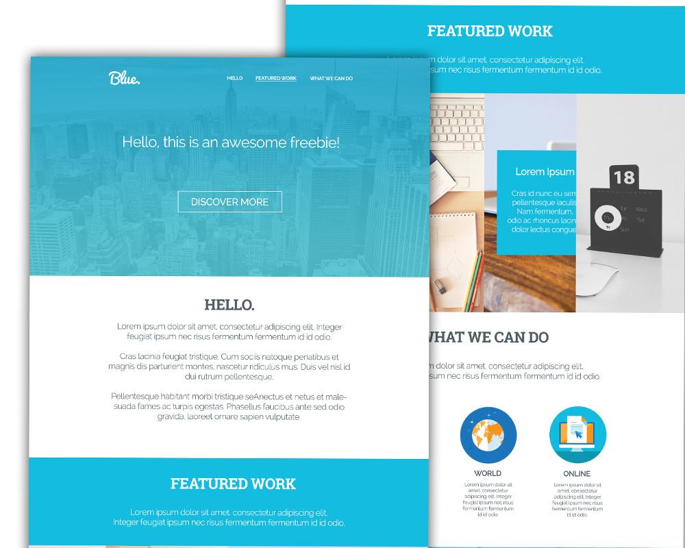 Clean Corporate Blue Single Page Template PSD Freebie