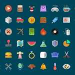 Colorful Flat Icons Free PSD