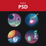 Cosmos Space Free Icon Set PSD