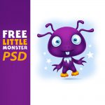 Cute Little Alien Cartoon Character Free PSD