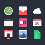 Flat Style Colorful Icons Set PSD