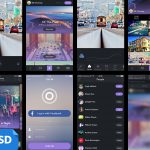 Flat Style iOS Photo Gallery App UI PSD