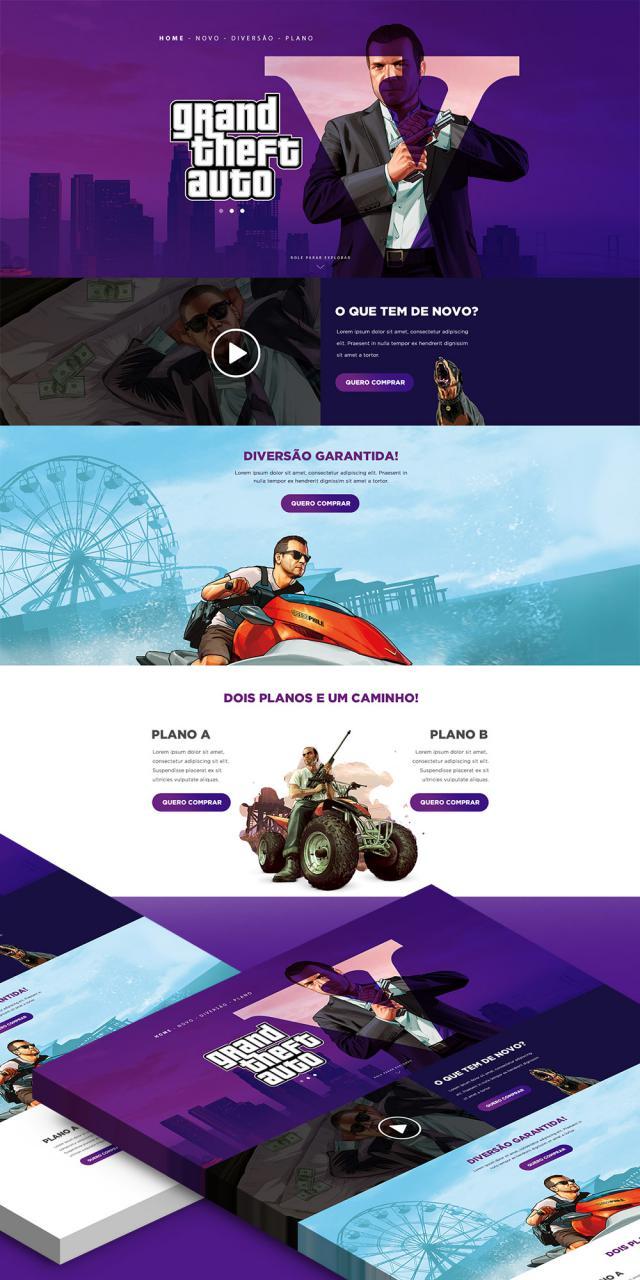 GTA V Game Website Landing Page Free PSD