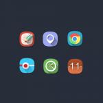 Long Shadow Flat Rounded Web Icons Set