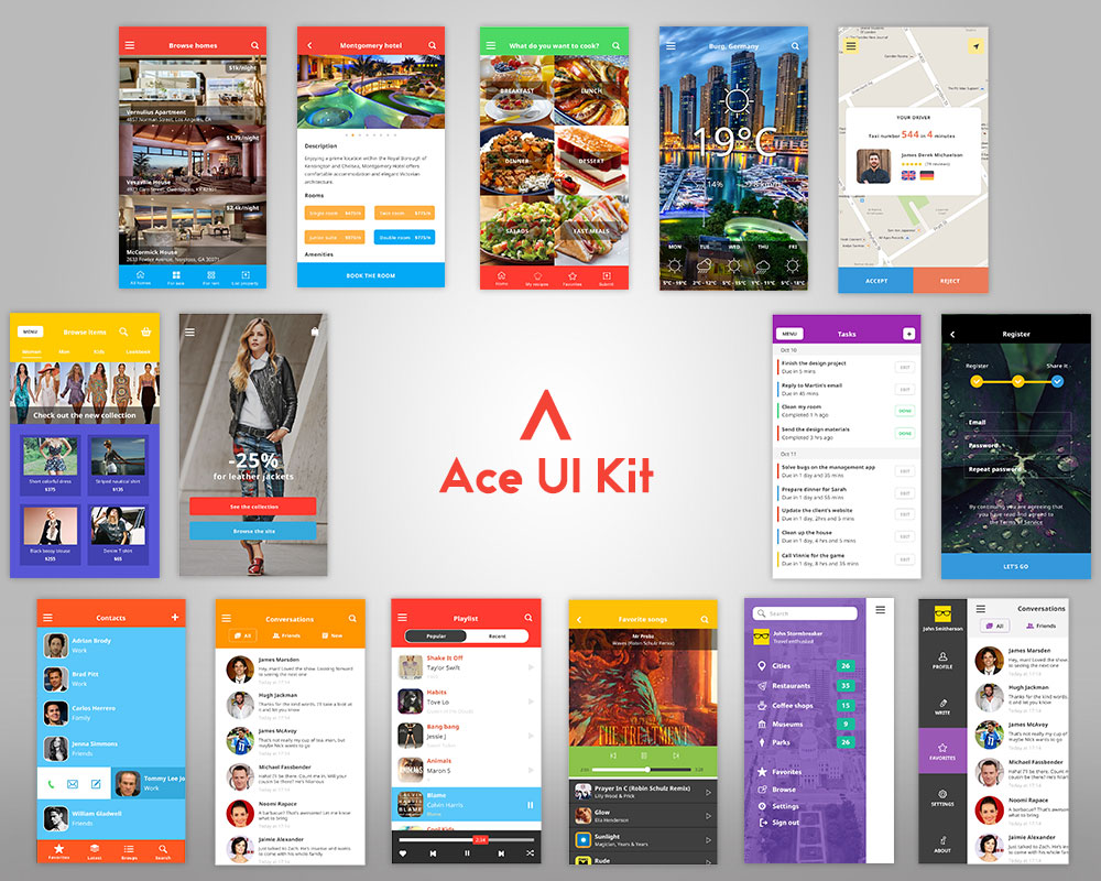 Modern IOS 8 Mobile UI Kit Free PSD