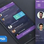 Purple Mobile Chat List UI PSD