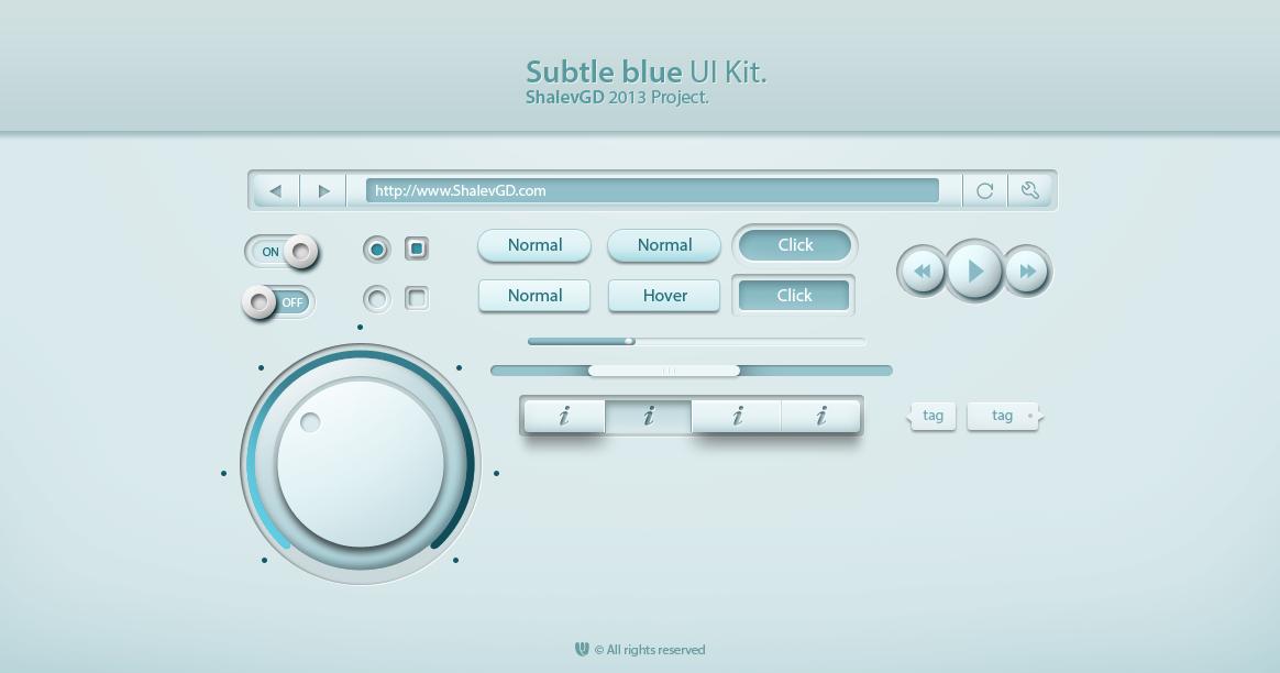 Subtle Blue Web UI Elements Kit PSD