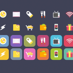 Vibrant iOS food Theme Shopping Icons Set PSD