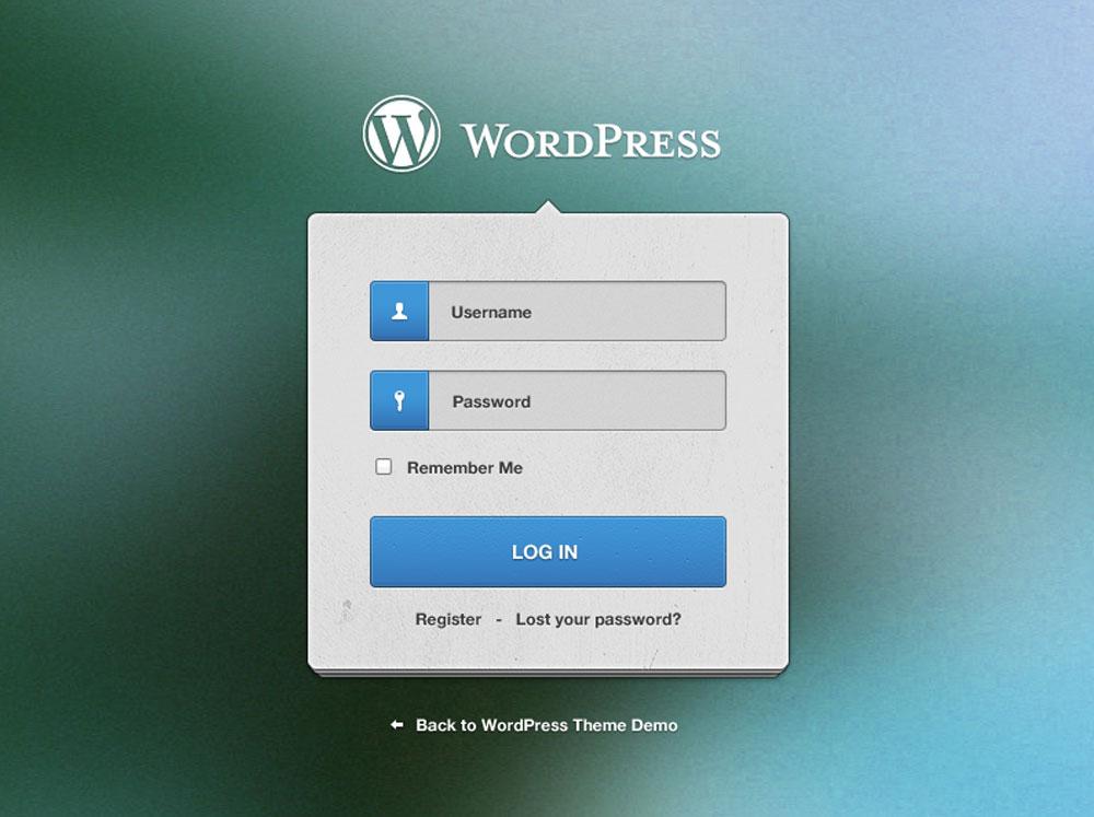 WordPress Login Screen Free PSD File