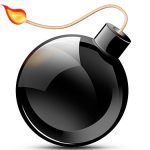Black Burning Bomb Icon PSD