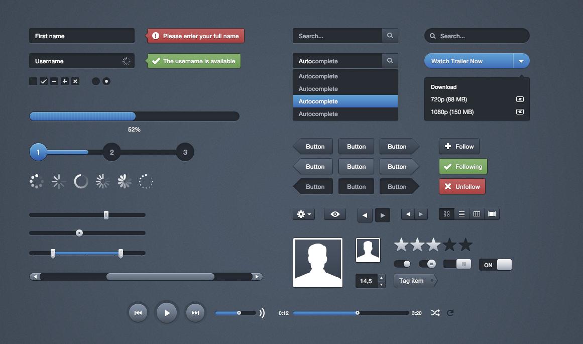 Moonify UI PSD Elements